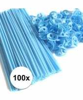 Lichtblauwe ballonstaafjes 100 stuks trend