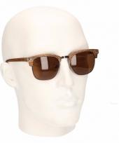 Lichtbruine houtlook heren zonnebril model 040 trend