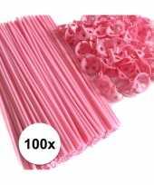 Lichtroze ballonstaafjes 100 stuks trend