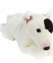 Liggend honden knuffeltje bull terrier 36 cm met kraalogen trend