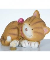 Liggende kat spaarpot 22 cm trend