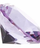 Lila paarse nep diamant 4 cm van glas trend