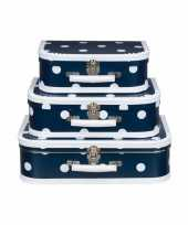 Logeerkoffer navy wit 30 cm trend