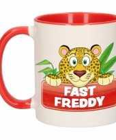 Luipaard theebeker rood wit fast freddy 300 ml trend