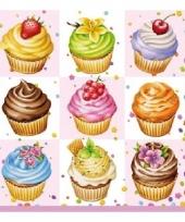 Lunchartikelen servetten cupcakes 3 laags 20 stuks trend
