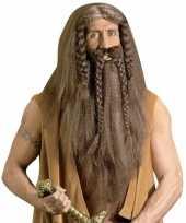Luxe barbaar pruik met baard en snor trend