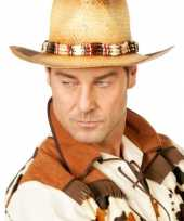 Luxe cowboy hoed voor heren met kralenketting trend