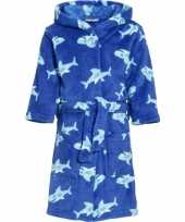 Luxe fleece badjas met haaien motief voor kinderen trend