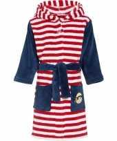 Luxe fleece rood witte badjas met streepjes motief voor kinderen trend