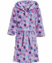 Luxe fleece roze badjas met bloemen motief voor meisjes trend