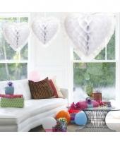 Luxe hangdecoratie hart wit 30 cm trend