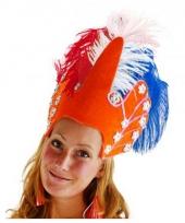 Luxe hoofdtooi oranje met veren trend
