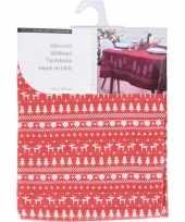 Luxe kerst diner tafelkleed tafellaken rood rendier 130 x 180 cm trend