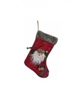 Luxe kerstsok met kerstman 44 cm trend