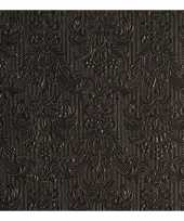Luxe servetten barok patroon zwart 3 laags 15 stuks trend