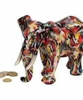 Luxe spaarpot olifant rood van keramiek 22 cm trend