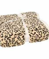 Luxe vachtdeken beige cheetah print 140 x 200 cm trend
