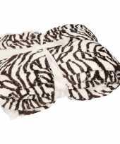 Luxe vachtdeken glanzende zebra print 140 x 200 cm trend