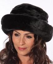 Luxe zwarte damesmuts van nepbont trend