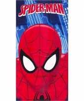 Marvel spiderman gezicht badlaken strandlaken blauw 70 x 140 cm trend