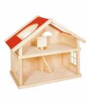 Massief houten poppenhuis 2 etages voor kinderen trend