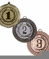 Medailles set goud 1 zilver 2 en brons 3 trend