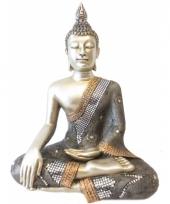 Mega decoratie boeddha thais zilver 46 cm trend