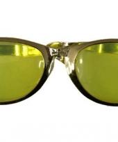 Mega gouden bril met gele glazen trend