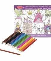 Meisjes prinsessenboek met kleurpotloden set trend