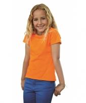 Meisjes shirt oranje met korte mouwen trend