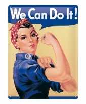 Metalen decoratie plaat we can do it feminisme trend