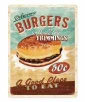 Metalen muurplaat van een hamburger alkmaar trend