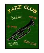Metalen muurplaatje jazz club 30 x 40 cm trend