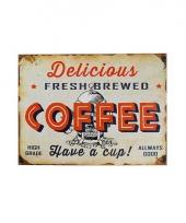 Metalen plaat koffie 30 x 40 cm trend