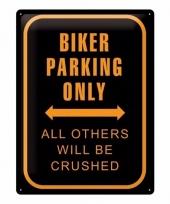 Metalen plaat voor aan de muur bikers parking only trend