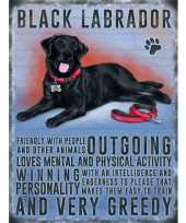 Metalen plaat zwarte labrador trend