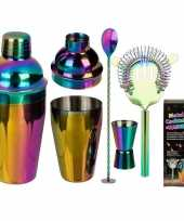 Metalen regenboog cocktail shaker set trend