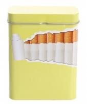 Metalen sigarettenblikje geel lime trend