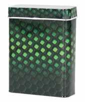 Metalen sigarettenblikje honingraat zwart groen trend