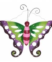 Metalen vlinder groen roze voor in de tuin 41 cm trend
