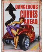 Metalen wandplaat dangerous curves ahead trend
