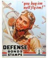 Metalen wandplaat defense bonds stamps trend