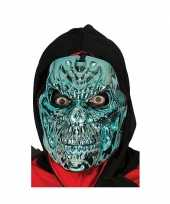 Metallic blauwe horror skelet masker trend