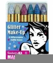 Metallic glitter schmink stiften 6 stuks trend