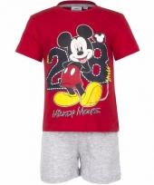 Mickey mouse korte pyjama rood met grijs trend