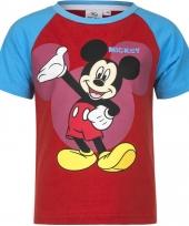 Mickey mouse t-shirt rood blauw voor jongens trend