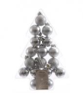 Mini kerstballetjes zilver 17 stuks trend