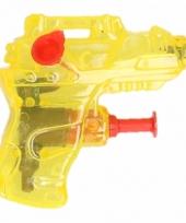 Mini waterpistool geel 7 cm trend