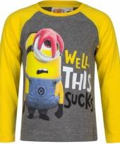 Minion t-shirt grijs met geel trend