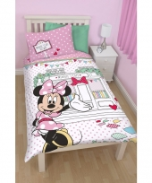 Minnie mouse cafe dekbedovertrek meisjes 140 x 200 cm trend